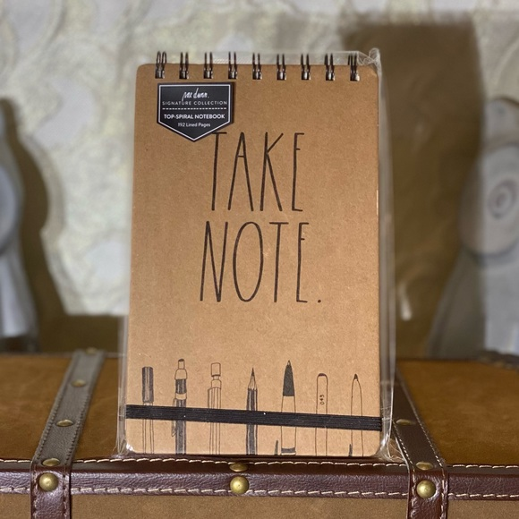 """Rae Dunn """"TAKE NOTE"""" Top Spiral Notebook"""